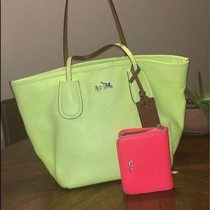 Neon Coach Tote & Wallet